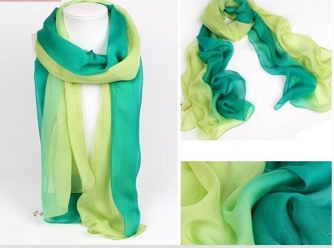 100% Zijde Sjaal – Groen/pistache