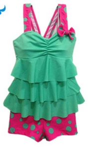 Meisje Zwempak-Groen/Roze