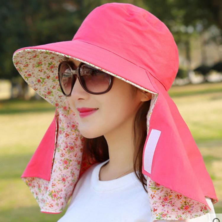 Dames UV Zonnehoeden – 100% Katoen (Roze)