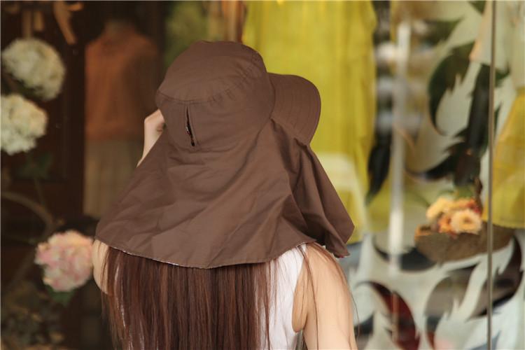 Dames UV Zonnehoeden – 100% Katoen (bruin)